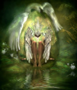 Swan Fantasy Art Prints - Birth Of A Swan Print by Carol Cavalaris