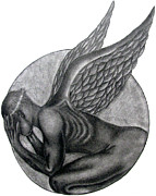 Religious Drawings Metal Prints - Birth of an Angel Metal Print by Patrick Carrington
