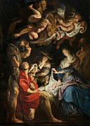 Virgin Mary Posters - Birth of Christ Adoration of the Shepherds Poster by Peter Paul Rubens