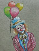 Balloon Pastels Prints - Birthday Clown Print by Thuraya R