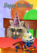 Wildlife Celebration Digital Art - Birthday Raccoon by Jeanette K