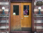 Bisbee Framed Prints - Bisbee Courthouse American Flag Framed Print by Dave Dilli