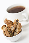 Snacks Prints - Biscotti and Coffee Print by Elena Elisseeva