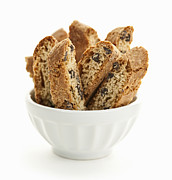 Snacks Photos - Biscotti cookies in bowl by Elena Elisseeva