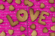 Pink Dots  Posters - Biscuit Love Poster by Tim Gainey