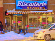 Depanneur Art - Biscuiterie Sylvestre Rue Wellington Candy And Sweet Shop Montreal Winter City Scene Carole Spandau by Carole Spandau