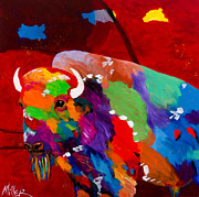 Buffalo Paintings - Bison and Red Sky by Tracy Miller