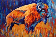 Abstract Wildlife Paintings - Bison At Dusk by Theresa Paden