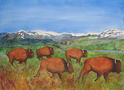 Bison Pastels - Bison At Yellowstone by Patricia Beebe