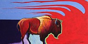 Prime Painting Framed Prints - Bison in the Winds of Change Framed Print by Joe  Triano