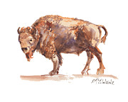 "\\\\\\\""texas Artist\\\\\\\\\\\\\\\"" Painting Framed Prints - Bison Framed Print by Kathleen McElwaine"