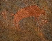 Featured Reliefs Metal Prints - Bison Petroglyph Metal Print by Katie Fitzgerald