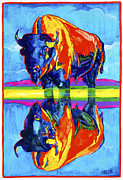 Dakota Paintings - Bison reflections by Derrick Higgins