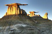 Unusual Landscape Posters - Bisti/De-Na-Zin Wilderness Golden Wings 2 Poster by Bob Christopher
