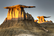 Unusual Landscape Posters - Bisti/De-Na-Zin Wilderness Golden Wings Poster by Bob Christopher