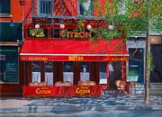 Cafes Painting Framed Prints - Bistro Citron New York City Framed Print by Anthony Butera