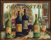 French Wine Bottles Painting Posters - Bistro De Paris Poster by Marilyn Dunlap