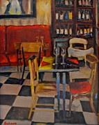 French Wine Bottles Prints - Bistro in Fontainbleau Print by Dorothy Siclare