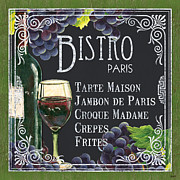 Red Wine Bottle Painting Posters - Bistro Paris Poster by Debbie DeWitt
