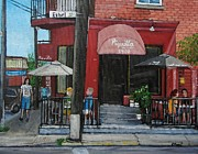 City Of Montreal Painting Framed Prints - Bistro Piquillo in Verdun Framed Print by Reb Frost