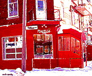 Winter Scenes Drawings Posters - Bistro Piquillo Restaurant Cold Day In Verdun Winter Scene Urban Eateries Montreal Art C Spandau Poster by Carole Spandau