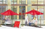 Outdoor Cafe Paintings - Bistro by Sandy Linden