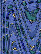 Turquoise Stained Glass Prints - Bits And Pieces - Cool Print by Ben and Raisa Gertsberg