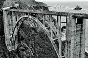 Highway 1 Posters - Bixby Creek Bridge Black And White Poster by Benjamin Yeager