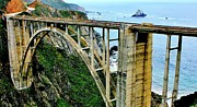 Highway 1 Posters - Bixby Creek Bridge Panorama Poster by Benjamin Yeager