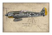 Fighters Digital Art - Black 13 Focke-Wulf FW 190 - Map Background by Craig Tinder