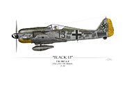 Fighters Digital Art - Black 13 Focke-Wulf FW 190 - White Background by Craig Tinder