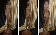 Sculpture Ideas Prints - Black and Gold - Beautiful Wooden Sculpture of Nude Woman Print by Carlos Baez Barrueto