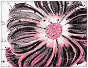 Polkadots Posters - Black and Pink Flower with Polkadots Poster by Barbara Griffin