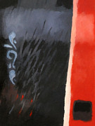 Non-figurative Paintings - Black and Red Composition by Lutz Baar