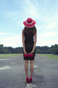 Sun Hat Prints - Black And Red Print by Joana Kruse