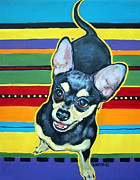 Chiwawa Paintings - Black and Tan Chihuahua by Rebecca Korpita