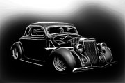 White Walls Framed Prints - Black and White 1936 Ford Framed Print by Steve McKinzie