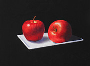 Apples Paintings - Black and White and Red by Jean Yates