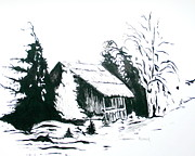 Snow Scene Mixed Media Prints - Black and White Barn in Snow Print by Joyce Gebauer