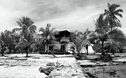 Old School House Photos - Black and White Beach House by John Rizzuto