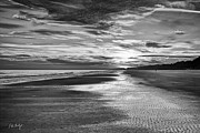 Hilton Beach Framed Prints - Black and White Beach Framed Print by Phill  Doherty