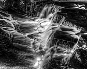 Tim Buisman Art - Black and White Cascading Water by Tim Buisman