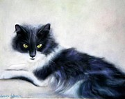 Cat Portraits Pastels Prints - Black and White Cat Print by Gabriela Valencia