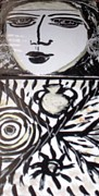 Tiles Ceramics Metal Prints - Black and white Metal Print by Catherine Walker