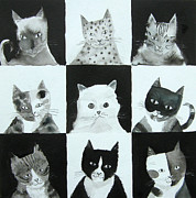 Blackandwhite Painting Posters - Black and white cats Poster by Mary Stubberfield