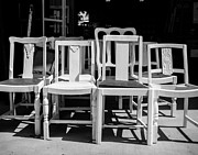 Ladder Back Chairs Metal Prints - Black and White Chairs Metal Print by Sonja Quintero