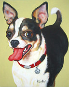 Chiwawa Paintings - Black and White Chihuahua by Rebecca Korpita