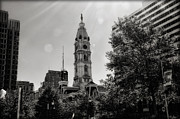 Hall Digital Art Framed Prints - Black and White City Hall Framed Print by Bill Cannon