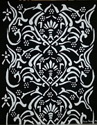 Black And White Classic Damask Print by Debra Acevedo