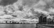 Detroit River Framed Prints - Black and White Detroit Skyline  Framed Print by John McGraw
